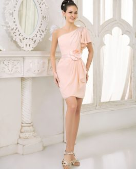 Bridesmaid Dress Chiffon Beaded Cocktail Dress One Shoulder Ruffled Sheath Short Party Dress