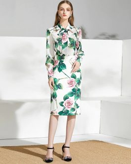 Casual Bow tie Floral Print Midi Skirt Suit