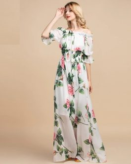 Casual Floral Print Boho Maxi Dress