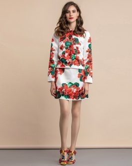 Casual Floral Print Skirts Two Pieces Suits