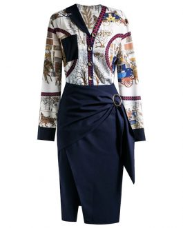 Character abstraction print Tops +Split Skirts Suit