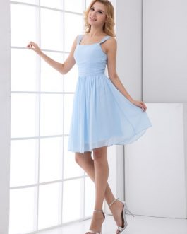 Chiffon Bridesmaid Dress Short Sleeveless Wedding Party Dress Ruched Prom Dress