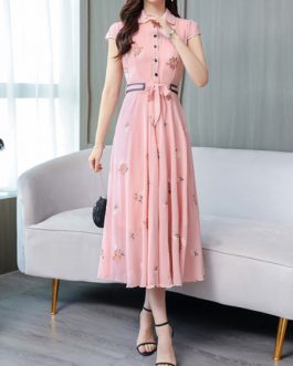 Chiffon Floral Print Short Sleeves Maxi Dresses