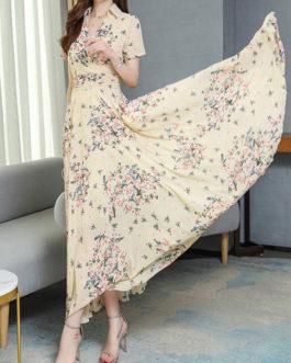 Chiffon Floral Print Turndown Collar Maxi Dresses