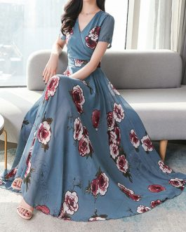 Chiffon Floral V Neck Long Maxi Dresses