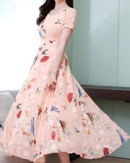 Chiffon Jewel Neck Swing Floral Maxi Dress