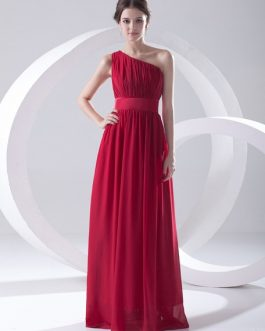 Chiffon One-Shoulder Bridesmaid Dress