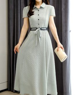 Chiffon Short Sleeves Maxi Dresses