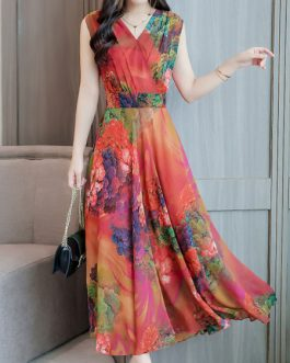Chiffon Sleeveless V Neck Swing Floral Maxi Dress