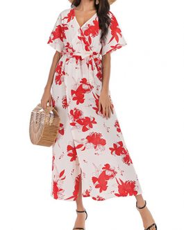 Chiffon Wrap Short Sleeves V Neck Floral Maxi Dress