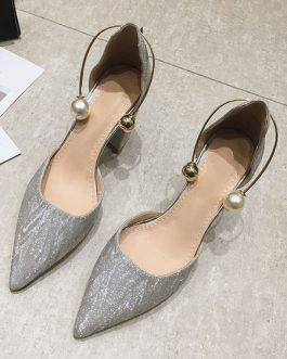 Chunky Heel Sandals Metal Details Chic Slip-On Pointed Toe Shoes