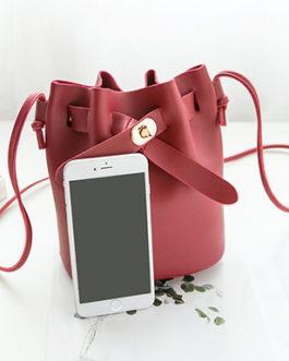 Clasped Strap Gather Top Barrel Style Cross body Handbag