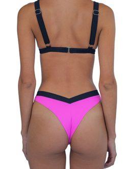 Contrasting Color Bikini Cut Two Piece Swimsuit