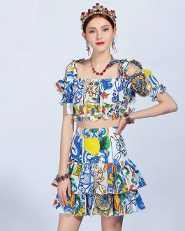 Casual Holiday Printed Top+ Ruffles Mini Skirts Suit