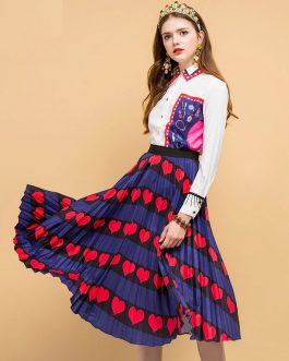 Heart Printed Embroider Skirt Two Pieces Set