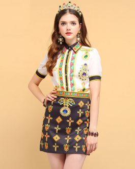 Crystal Beading Elegant Vintage Mini Skirt set