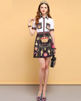 Fashion Designer Crown Print Elegant Vintage Skirt Suit