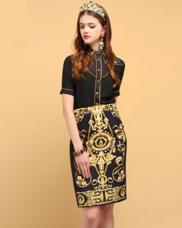 Crystal Beading Shirt+Geometric Printed Elegant Skirt Suit