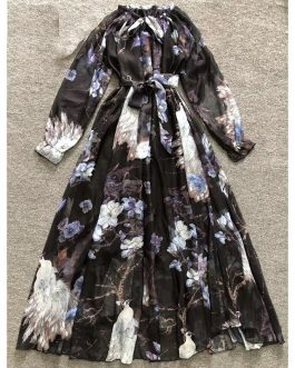Designer Long Sleeve Robe Peacock Flower Print Elegant Dress