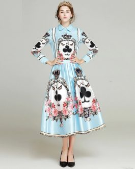 Turn-down Collar blouse +print skirt Suit Set