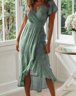 Disty Floral Chiffon Tea Wrap Maxi Dress