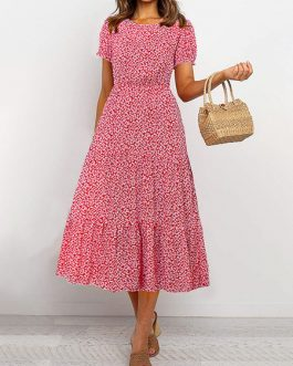 Ditsy Floral Short Sleeves Jewel Neck Maxi Dresses