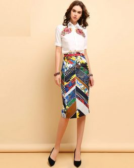Elegant Beading Sequined Shirt and Floral Printed Sashes Skirt Set