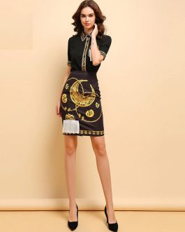 Elegant Beading Tassel Shirt Print Mini Skirt 2 Pieces Set