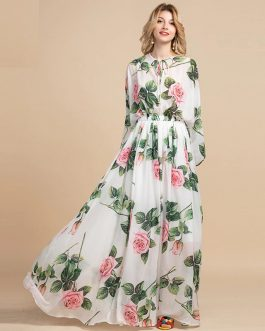 Elegant Flowers Print Long Sleeve Maxi Dress