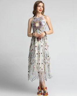 Elegant Gorgeous Embroidery Long Party Dress