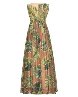 Elegant High Waist Banana Leaf Print Tank Maxi Dress