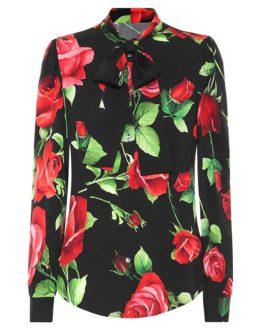 Silk Elegant Rose Floral Print Shirt