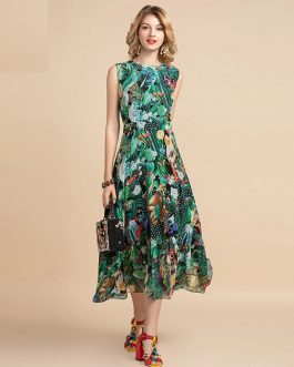 Elegant Sleeveless High waist Vintage Animal Jungle Floral Print Holiday Dress