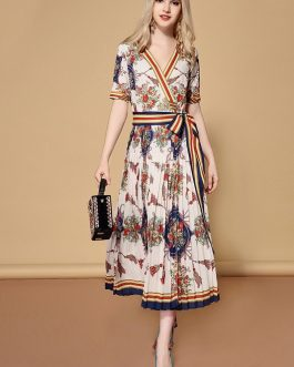 Elegant Striped Floral Print Vintage Belted Wrap Dress