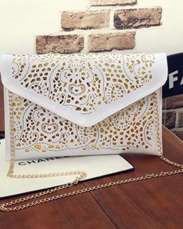 Envelop Bag – Floral Cut Out Triangular Fastener