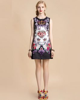 Fashion Designer Floral Print Beading Mini Dress