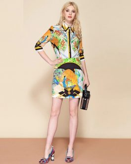 Fashion Designer Casual Printed Mini Skirts Suits