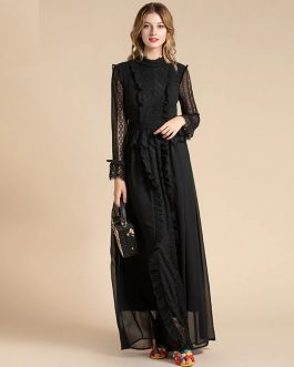 Fashion Designer Solid Mesh Lace Sleeve Floral Embroidery Ruffles Maxi Dress