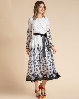 Fashion Runway Bow Belted Long Sleeve Dot Floral Print Chiffon Holiday Dress