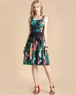 Fashion Runway Jungle Animal Floral Print Beading Draped Vintage Dress