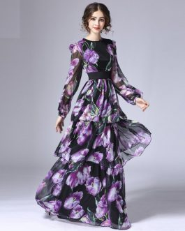 Fashion Runway Long Sleeve Vintage Tiered Tulip Floral Printed Long Dress