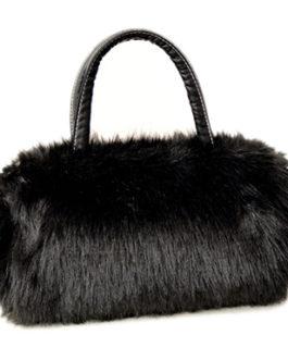 Faux Fur Barrel Evening Bag