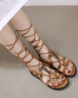 Flat Chic Lace Up Flat Sandals