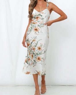 Floral Bodycon Backless Sleeveless Slip Dress