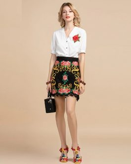 Floral Embroidery Lace Top and Mini Skirt Two Pieces Set Suit