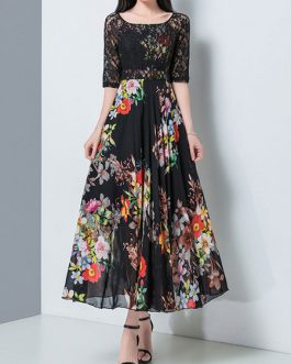Floral Half Sleeves Lace Long Beach Maxi Dresses