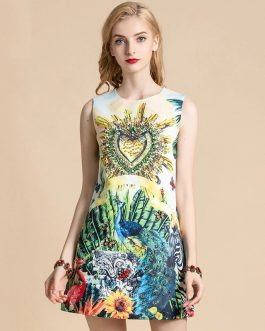 Floral Print Crystal Beading Sleeveless Mini Dress
