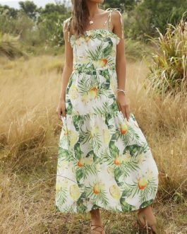 Floral Print Drawstring Beach Dress