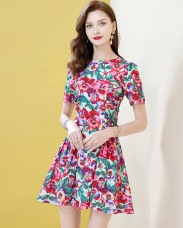 Floral Print Hem Ruffles Beach Mini Dress