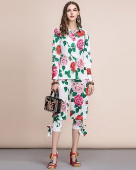 Floral Print Long Sleeve Blouses and Casual Pants